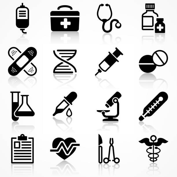 反射医療アイコンのセット - 医療機器点のイラスト素材/クリップアート素材/マンガ素材/アイコン素材