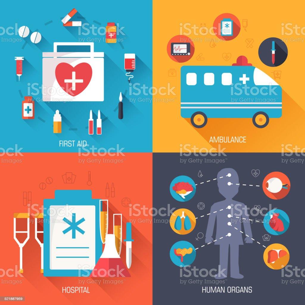 set of medical イラストコンセプトの背景 ベクトルのデザインの