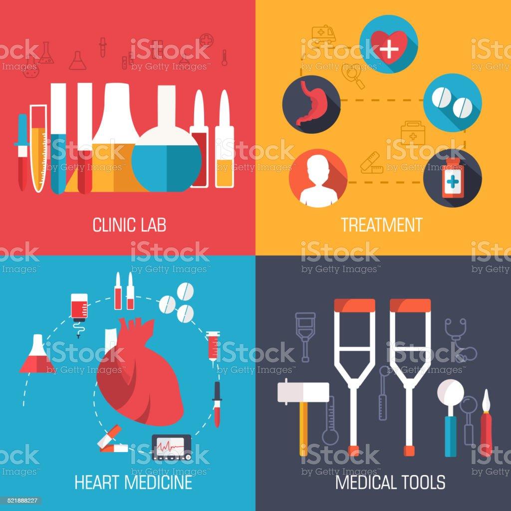 set of medical イラストコンセプトの背景 ベクトルのデザインのアイデア