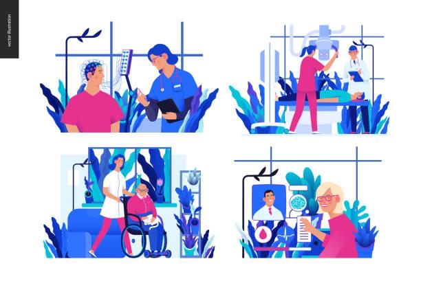 illustrazioni stock, clip art, cartoni animati e icone di tendenza di set of medical insurance illustrations - elettrodo