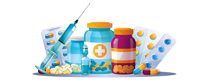 Set of medical items and drugs on an isolated white background.