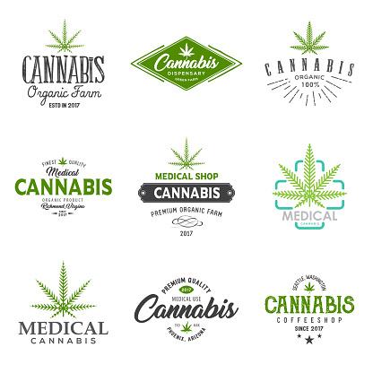 Set of medical marijuana cannabis leaf , labels.