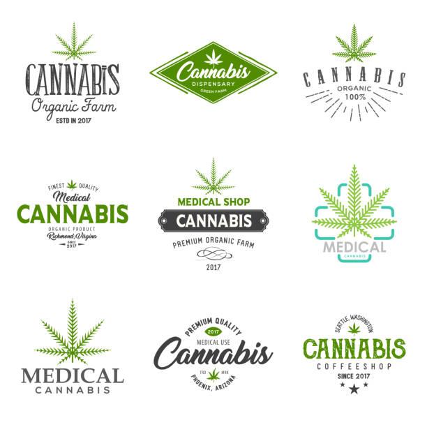 Set of medical marijuana cannabis leaf , labels. Modern vintage  for recreation and medical use. marijuana stock illustrations