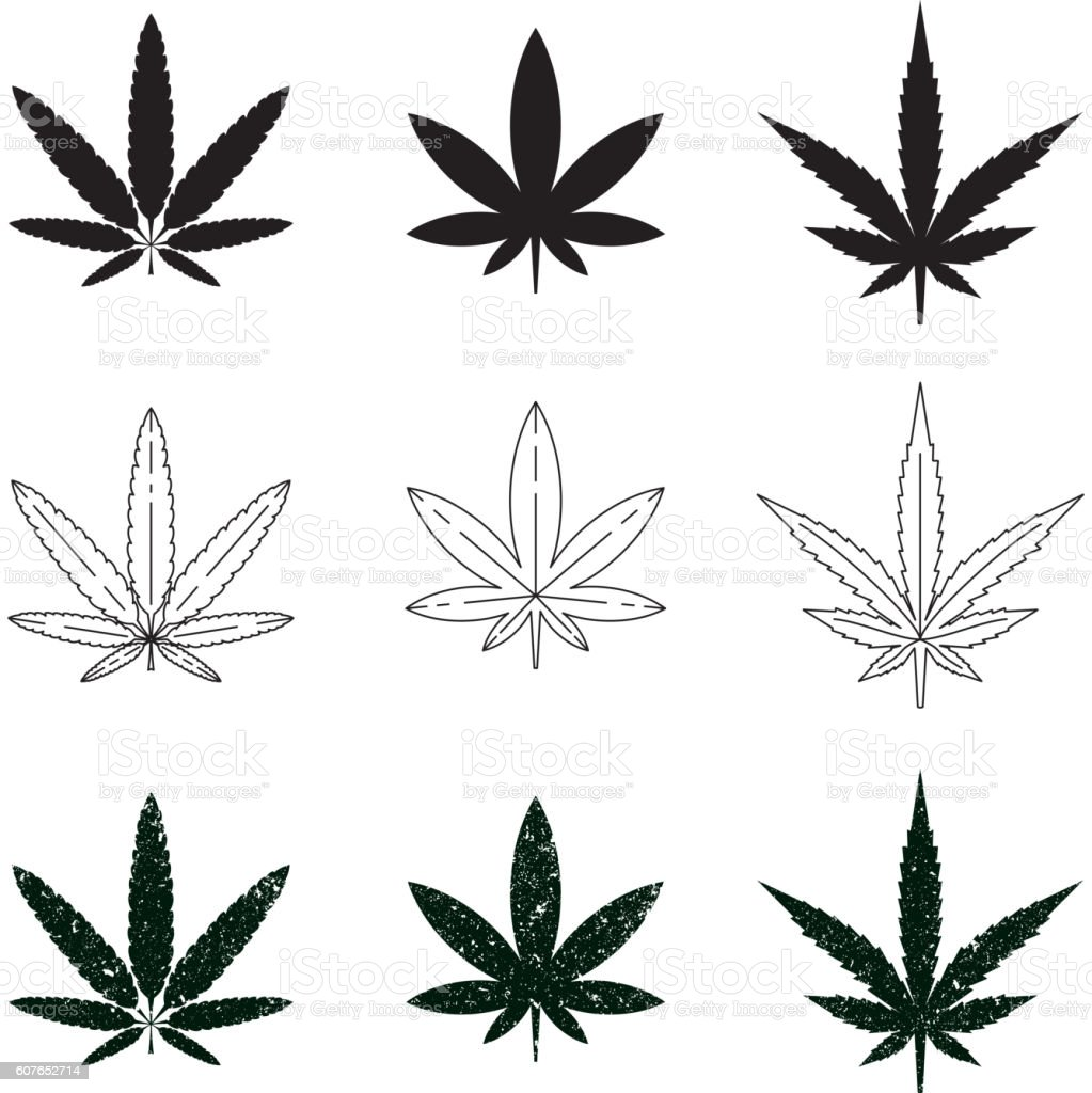 Set of medical marijuana symbols, logos, icons. vector art illustration