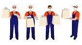 Set of medical masked volunteer brought box. Social worker delivers package . Taking care of older people. Stay at home. Courier man. Delivery online service. Deliveryman carrying packages with order