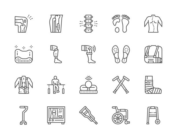 Set of Medical Rehabilitation and Orthopedic Line Icons. Set of Medical Rehabilitation and Orthopedic Line Icons. Backbone Pain, Flat Foot, Scoliosis, Prosthesis, Bandage, Physiotherapy, Mri Scanner, Crutches, Wheelchair and more. physical therapy stock illustrations