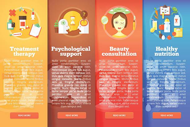 Set of medical science vector flat banners. vector art illustration