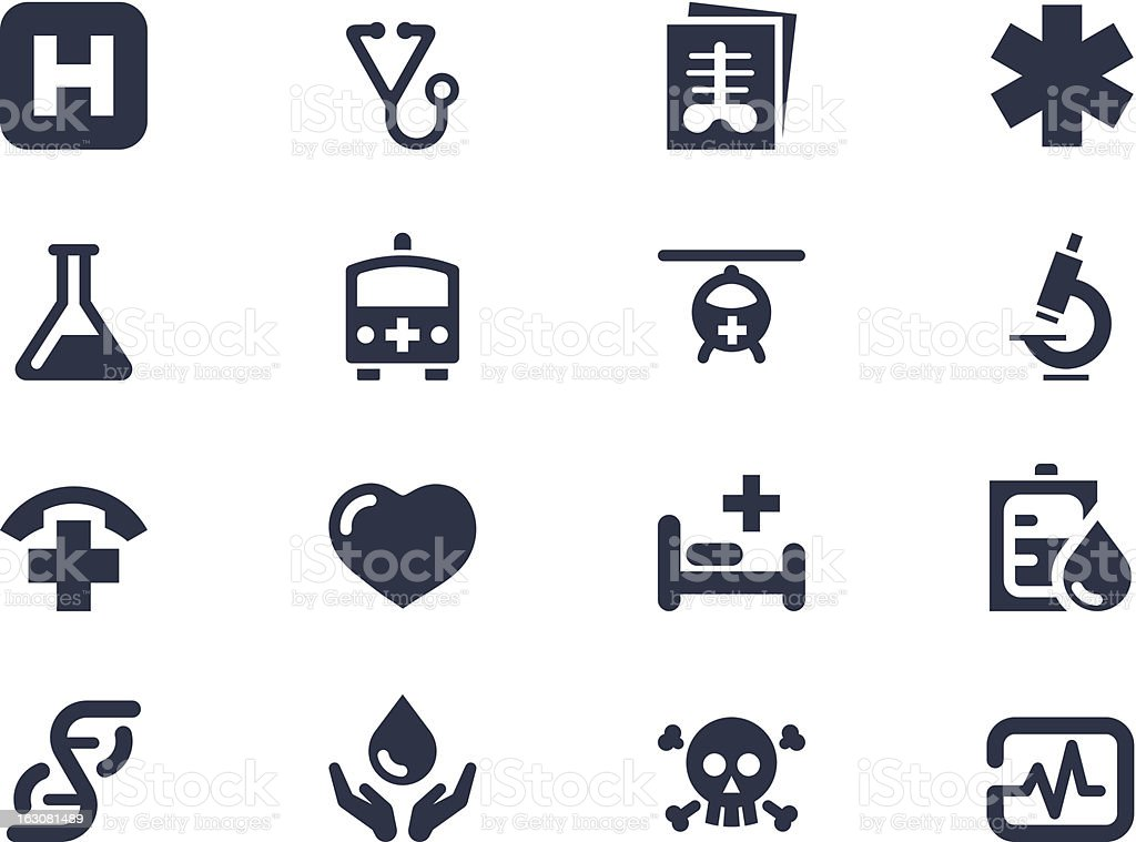 A set of medical symbols on a white background vector art illustration