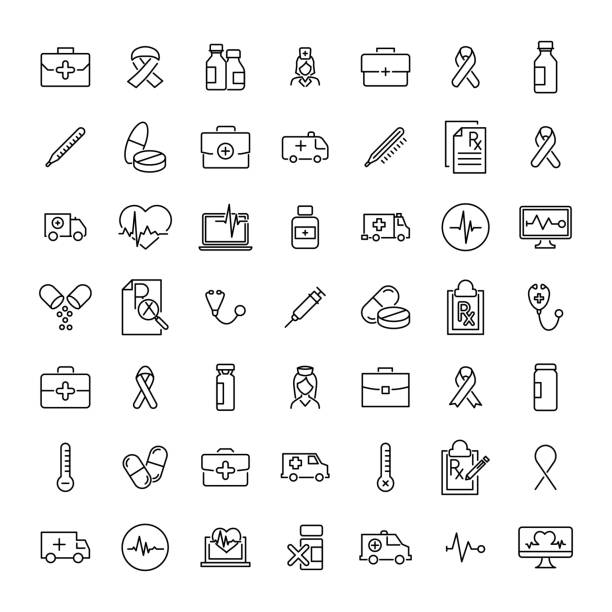 Set of medical thin line icons Set of medical thin line icons. High quality pictograms of health. Modern outline style icons collection. medical technical equipment stock illustrations