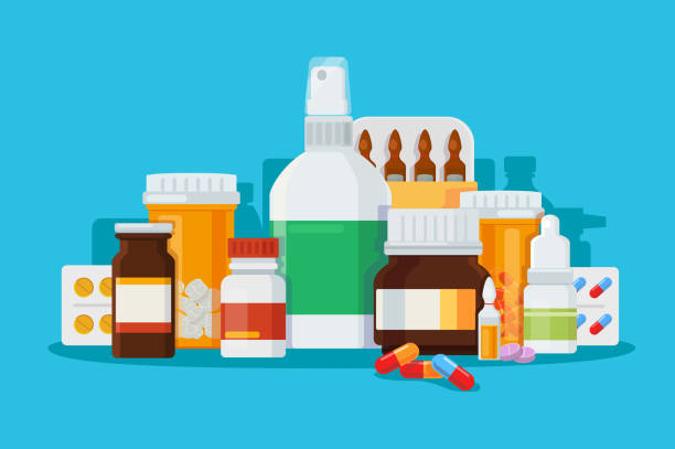 Set of medications for treatment of diseases. Set of medications for treatment of diseases. Concept sprays, ampoules, tablets, pills. Vector illustration nutritional supplement stock illustrations