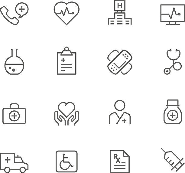 illustrazioni stock, clip art, cartoni animati e icone di tendenza di set di icona della medicina - scheda clinica