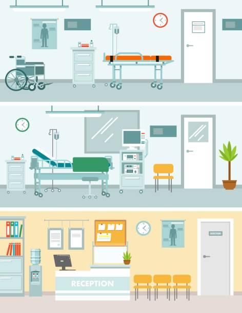 bildbanksillustrationer, clip art samt tecknat material och ikoner med uppsättning medicin begrepp med tomt sjukhus rum i platt stil - sjukhusavdelning