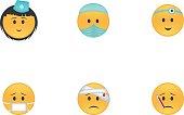 Set of medicine emoticon vector isolated on white background. Emoji vector. Smile icon set. Emoticon icon web.