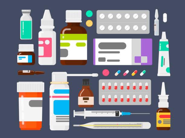 zestaw leków. środki z chorób. tabletki termometr, strzykawka i ampułki - lekarstwo stock illustrations