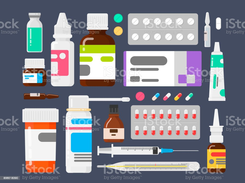 Set of medicines. Means from illnesses. Tablets a thermometer, a syringe and ampoules vector art illustration