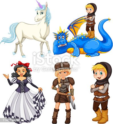 Set of medieval cartoon character illustration