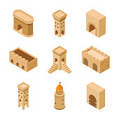 This collection of medieval castle elements has various icons belonging to the category of fortified habitation. It is an excellent pack to be used in related projects and can be adjusted according to your requirement.