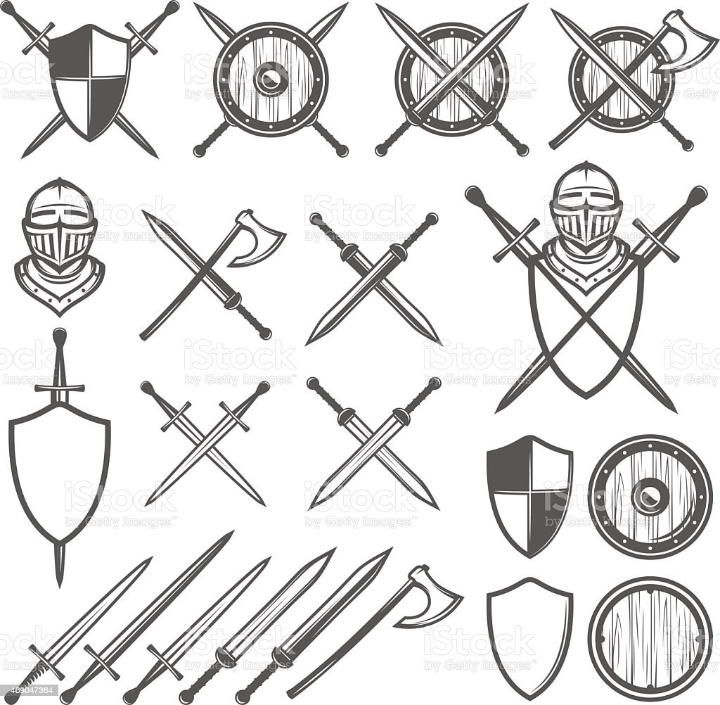 Set of medieval swords, shields and design elements vector art illustration