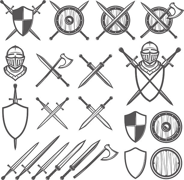 set of medieval swords, shields and design elements - sword stock illustrations