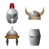 Set of medieval viking, knight, horned, coppergate helmets