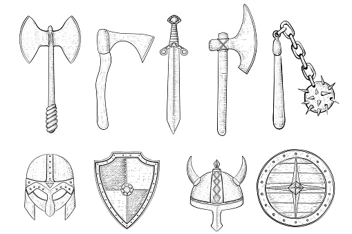 Set Of Medieval Weapons And Armor Hand Drawn Sketch Stock ...