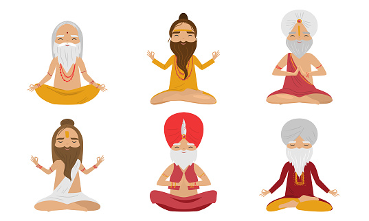 Collection set of meditating yogi sages men characters in the lotus position. Swami meditating concept. Isolated icons set illustration on a white background in cartoon style.