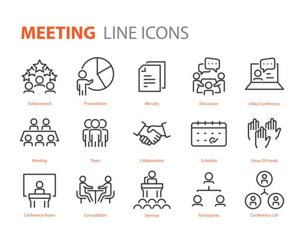 stockillustraties, clipart, cartoons en iconen met reeks vergaderings pictogrammen, zoals seminar, klas, team, conferentie, werk, klas - medewerkerbetrokkenheid