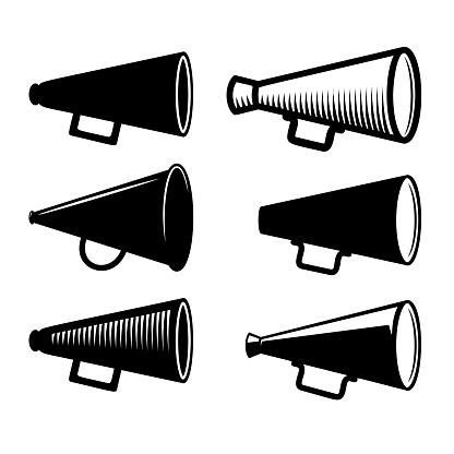 Set of megaphone illustrations in engraving style. Design element for poster, emblem, sign. Vector illustration