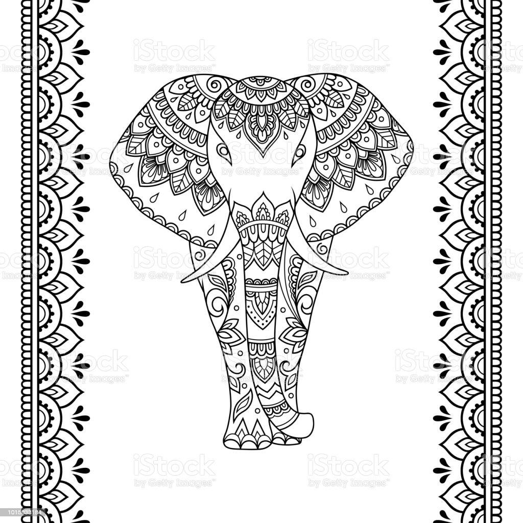 Ilustração de Conjunto De Mehndi Elefante Africano Com étnica Floral ...