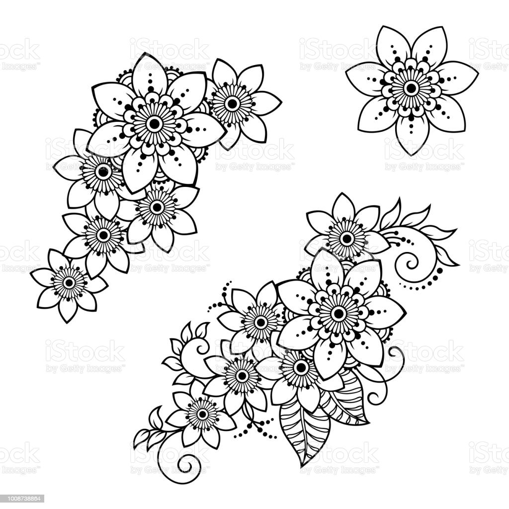 Set Of Mehndi Flower Pattern For Henna Drawing And Tattoo Decoration