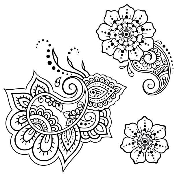 stockillustraties, clipart, cartoons en iconen met reeks van het bloemenpatroon mehndi henna tekening en de tatoeage. decoratie in etnische oosterse, indiase stijl. - hennatatoeage