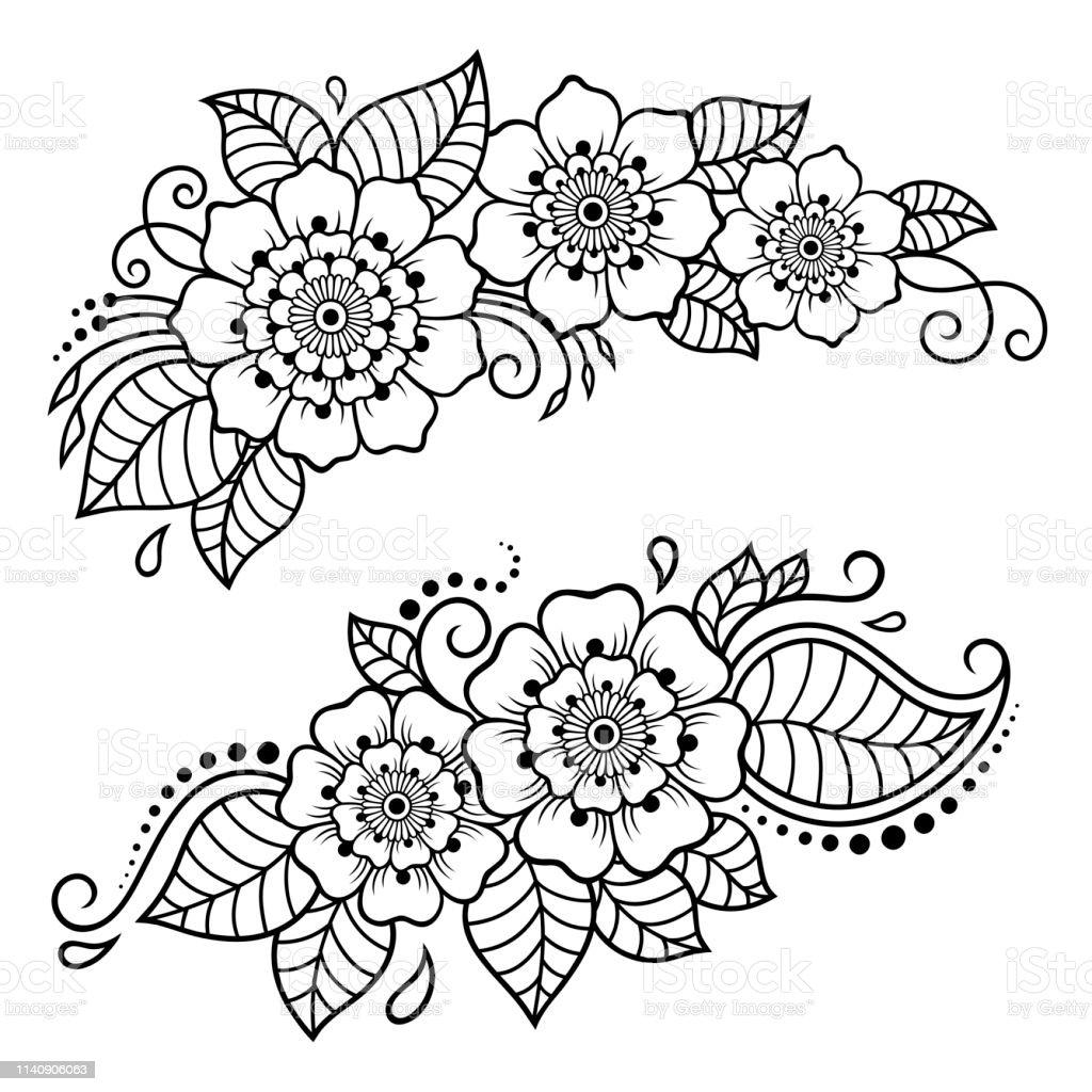 Ilustración De Conjunto De Patrón De Flores Mehndi Para El