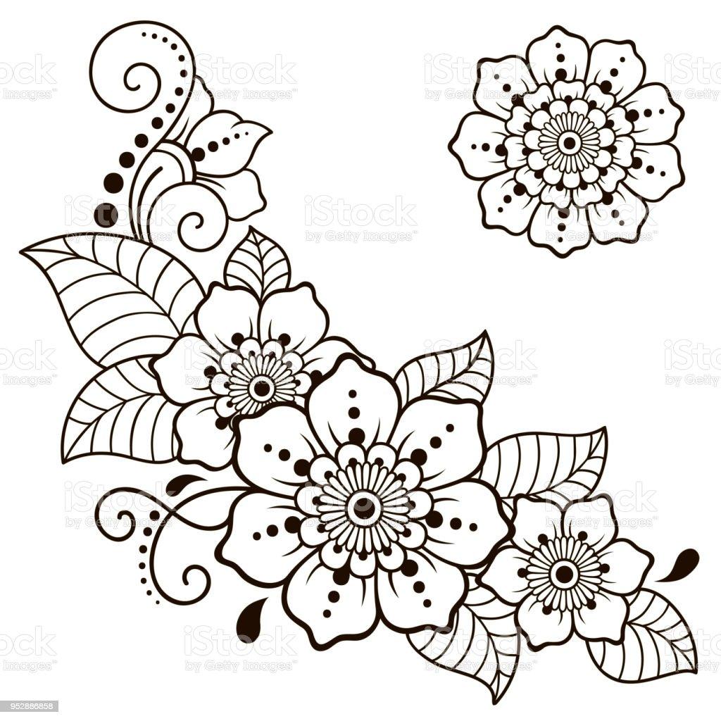 Ilustracin de Conjunto Del Patrn De Flor Mehndi Para Dibujo De