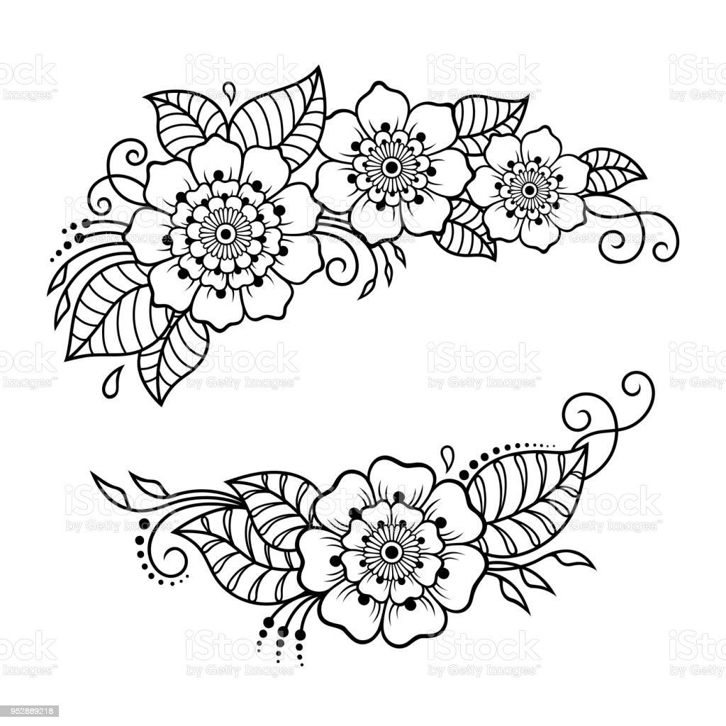 Ilustracion De Conjunto Del Patron De Flor Mehndi Para Dibujo De