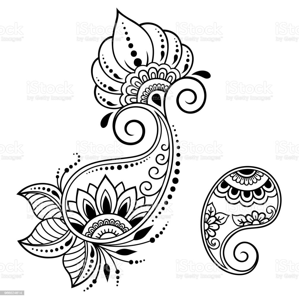 Ilustración De Conjunto Del Patrón De Flor Mehndi Para