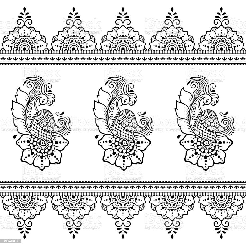 Ilustración de Conjunto De Flores De Mehndi Patrón De Pavo Real Y ...