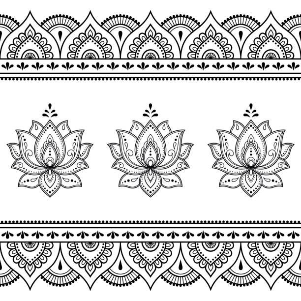 stockillustraties, clipart, cartoons en iconen met set mehndi lotus bloemenpatroon en naadloze rand voor henna tekening en de tatoeage. decoratie in oosterse, indiase stijl. - hennatatoeage