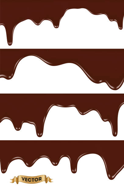 stockillustraties, clipart, cartoons en iconen met set van gesmolten chocolade druipen - smelten