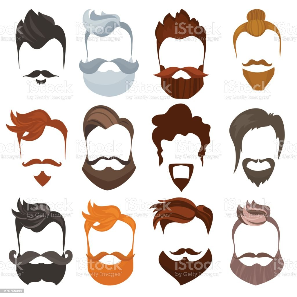 Set Of Men Cartoon Hairstyles With Beards And Mustache