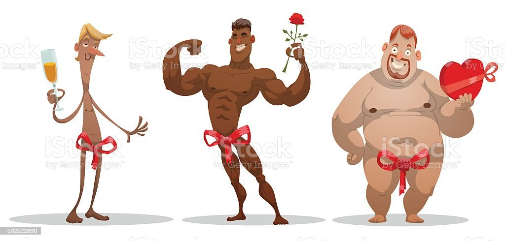 Set of Men congratulates with a gifts vector art illustration