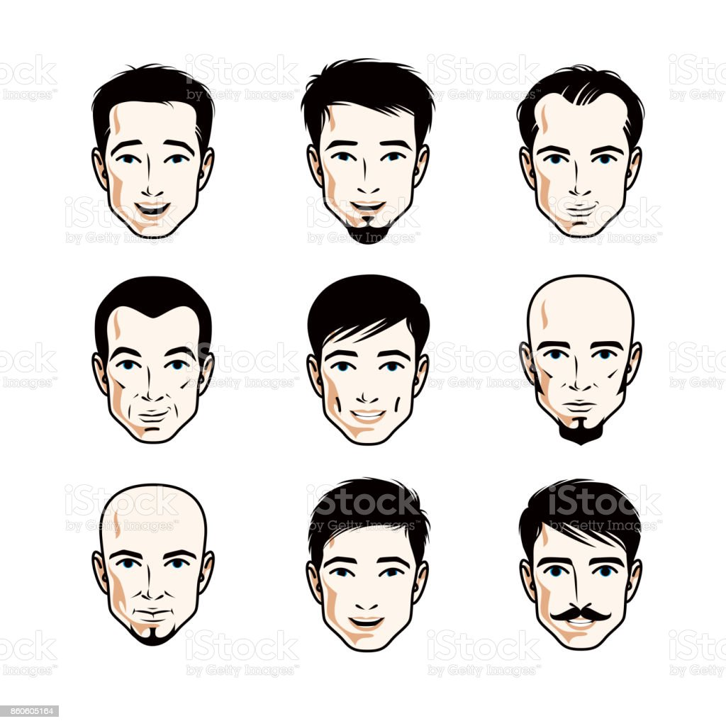 Set of men faces, human heads. Different vector characters like brunet, bald, with whiskers or bearded, handsome males. vector art illustration