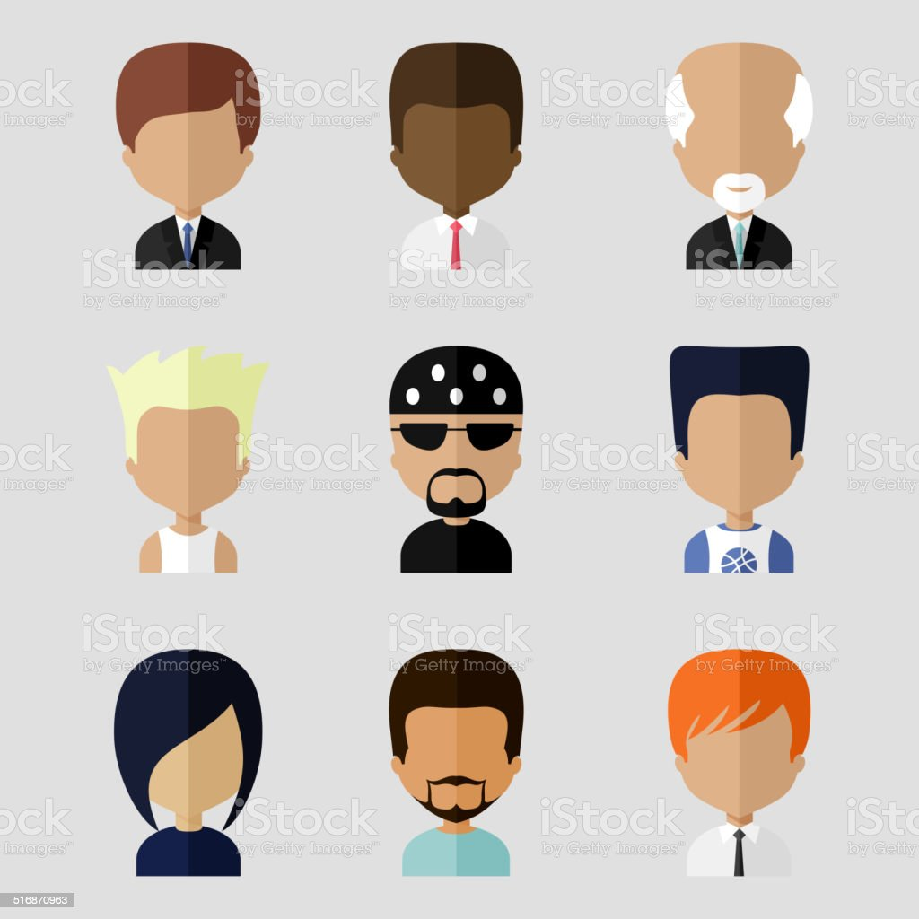 set of men faces icons in flat design stock vector art & more images
