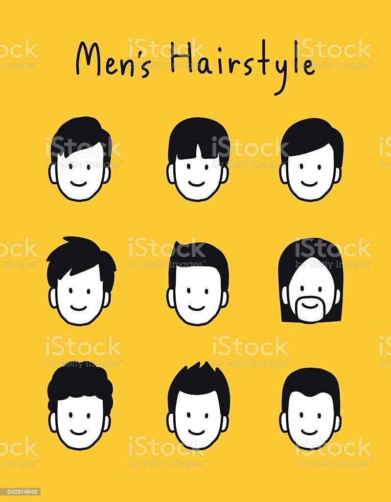 Set Of Men Hairstyle Hand Draw Minimal Vector Illustration Stock