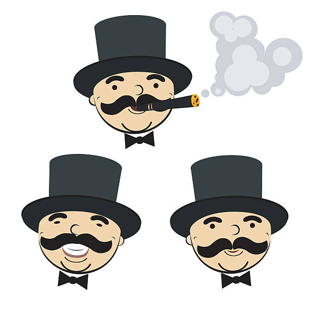 stockillustraties, clipart, cartoons en iconen met set of  men in  hats - guy with cigar
