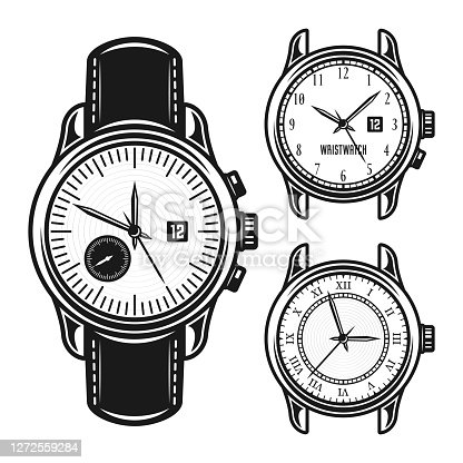 Set of men mechanical watches vector monochrome illustration isolated on white background