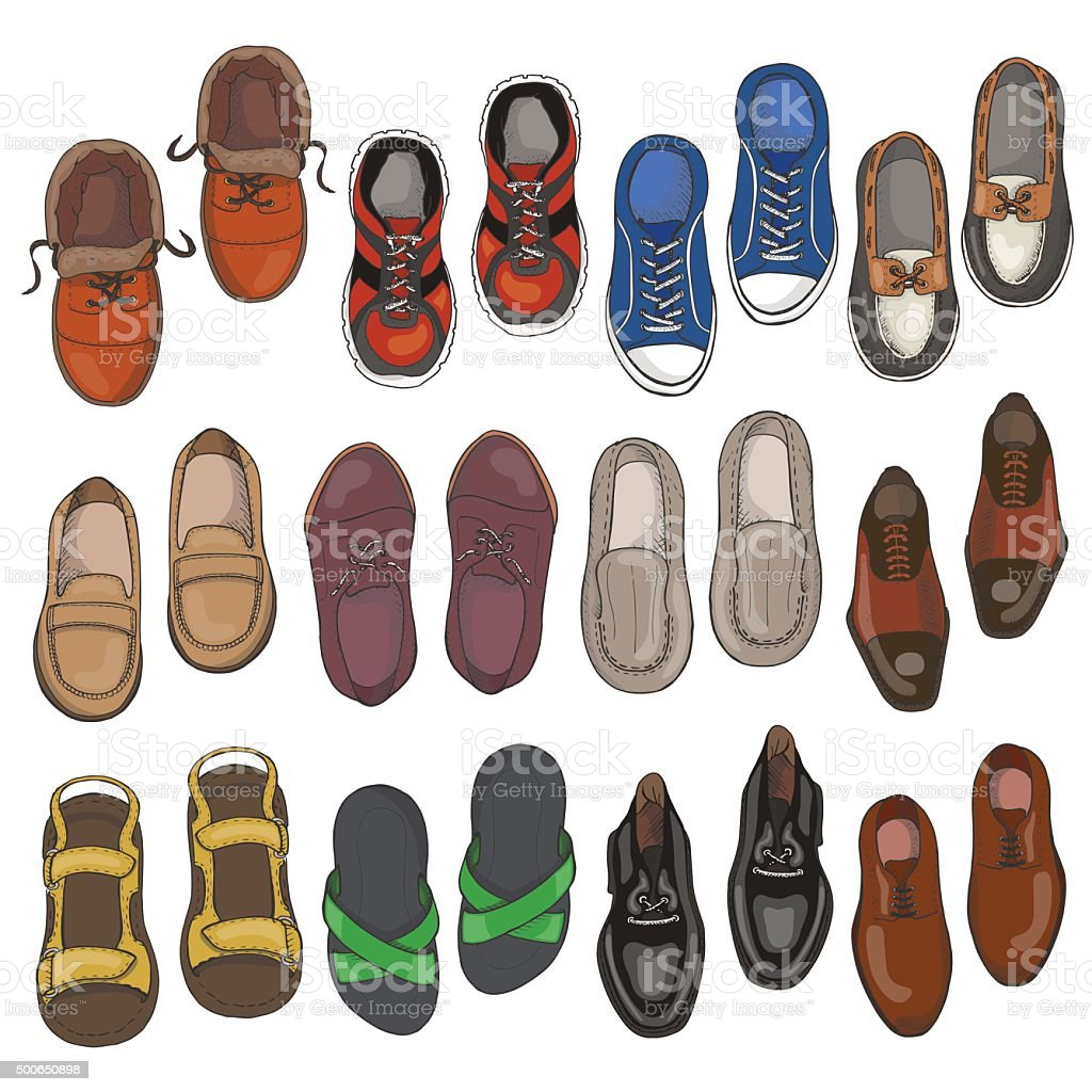 Set of men shoes on white background vector art illustration