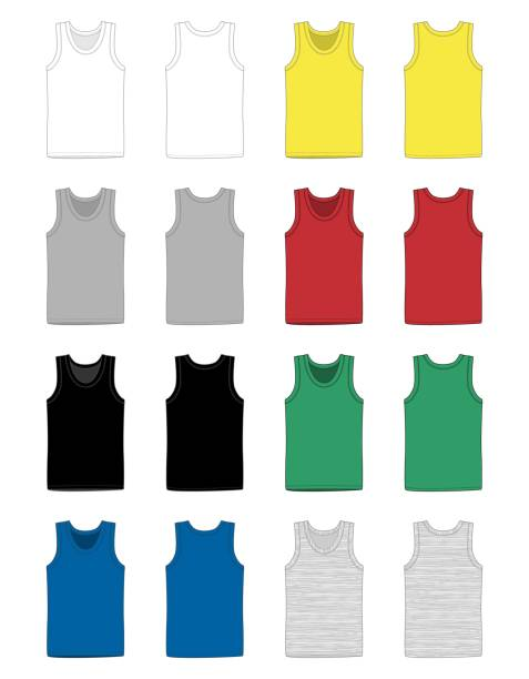 Set of men vest underwear. Tank top in front and back views. Set of men vest underwear. Tank top in front and back views. Isolated sleeveless male sport shirts or men top apparel. Blank templates of t-shirt. Casual style. tank top stock illustrations