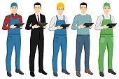 Set of men with a digital tablet