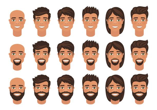 Set of mens avatars with various hairstyle: long or short hair, bald, with beard or without. Cartoon portraits isolated on white background. Flat style. Vector illustration. hair stock illustrations