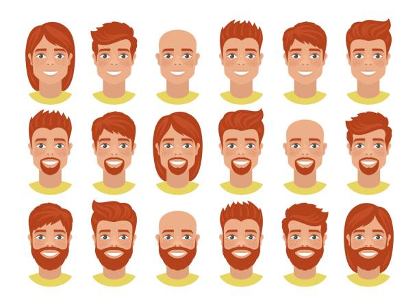 set of mens avatars with various hairstyles: long or short hair, bald, with beard or without. - redhead stock illustrations